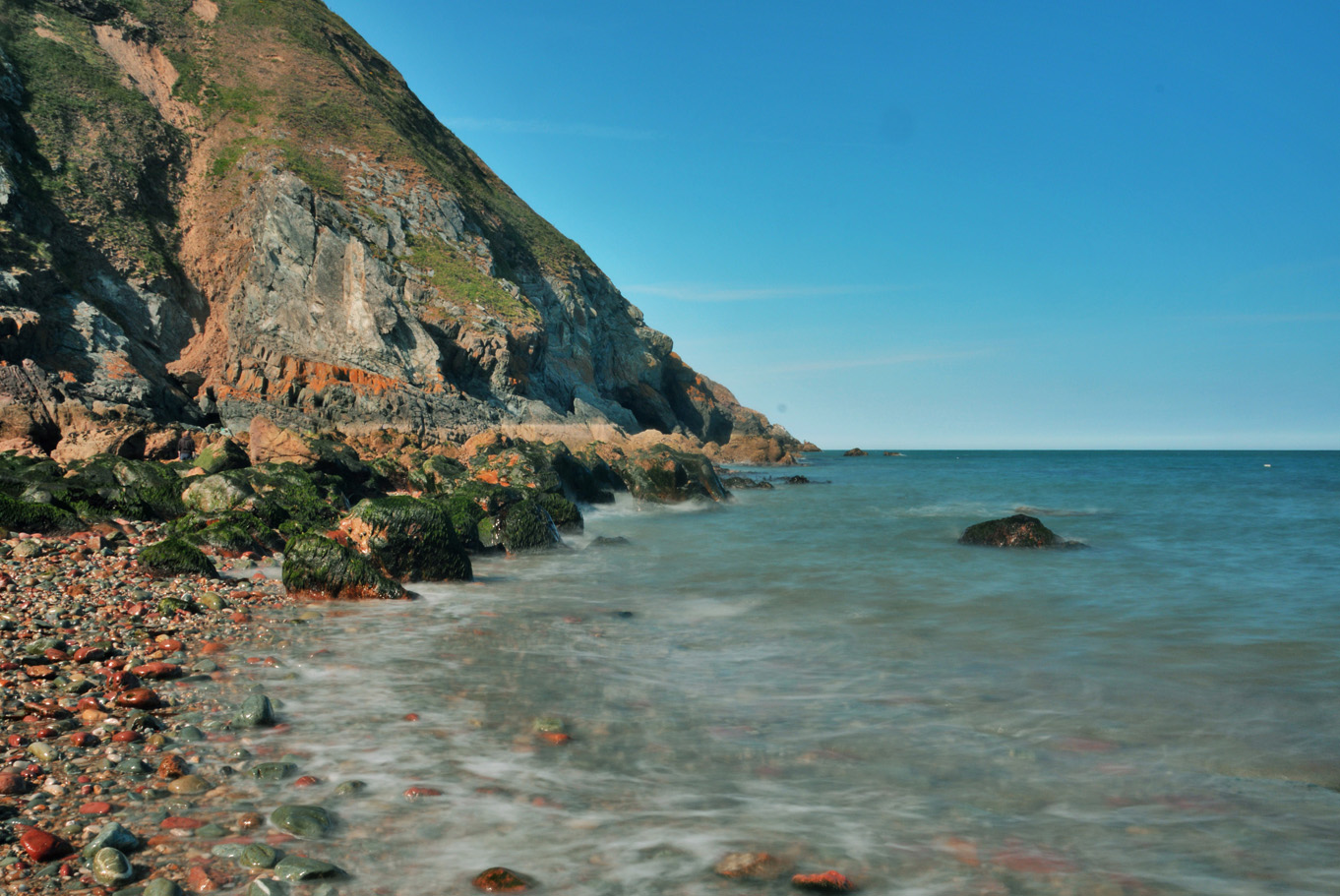 Quiet beach in Howth, just in front of the lighthouse
