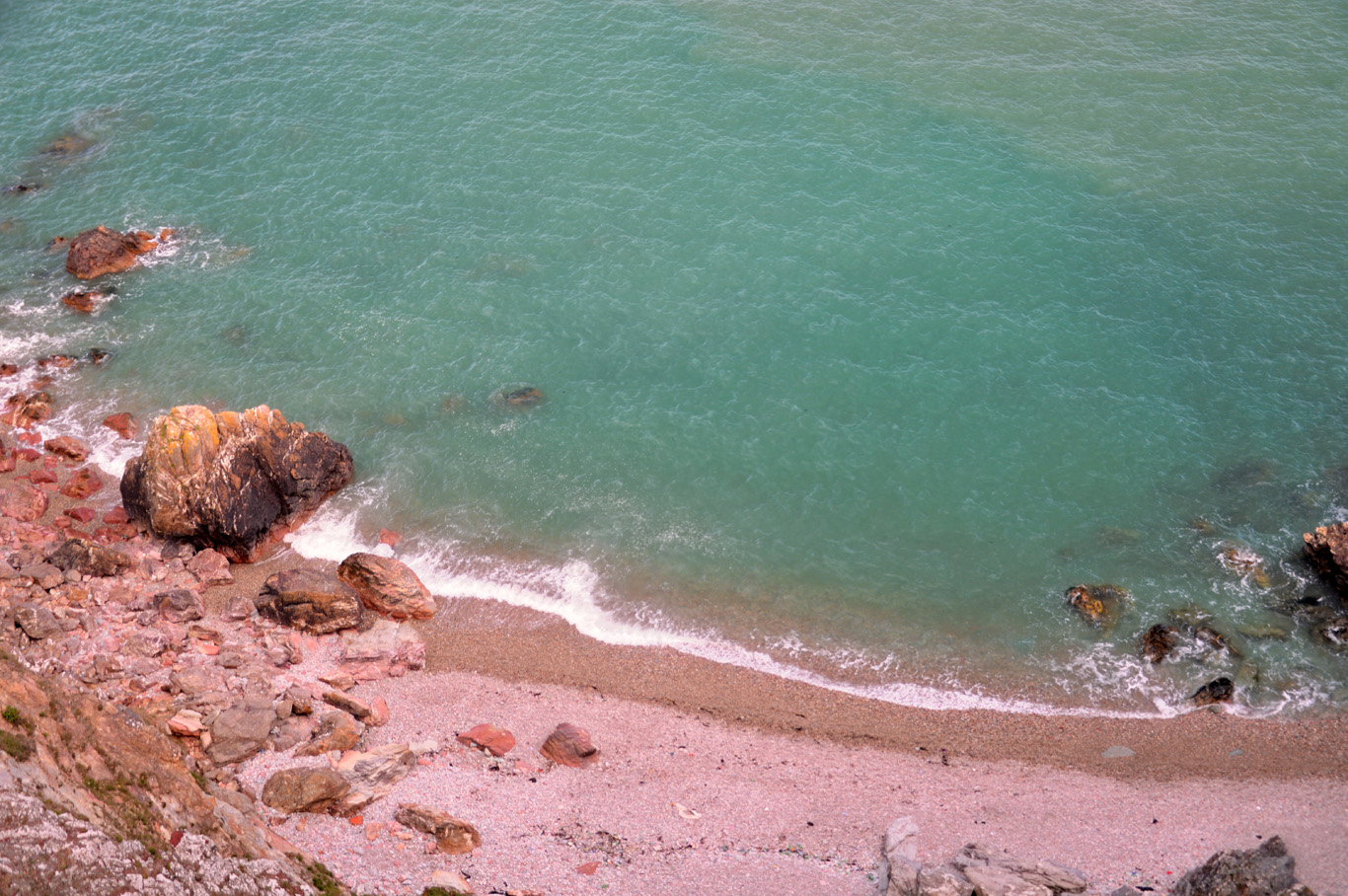 Pink beach - right next to the lighthouse