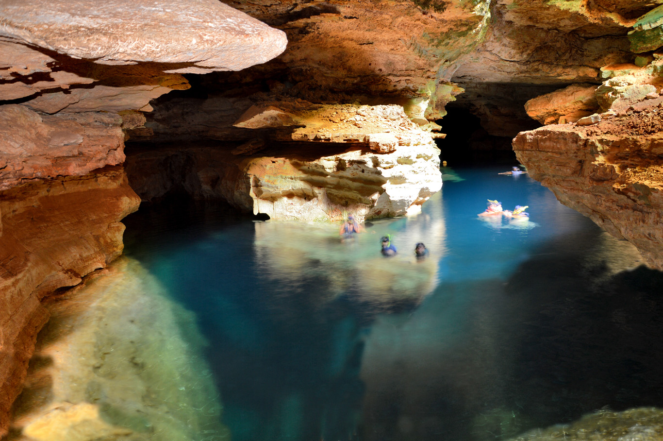 Swimming in the Blue Pool Cave