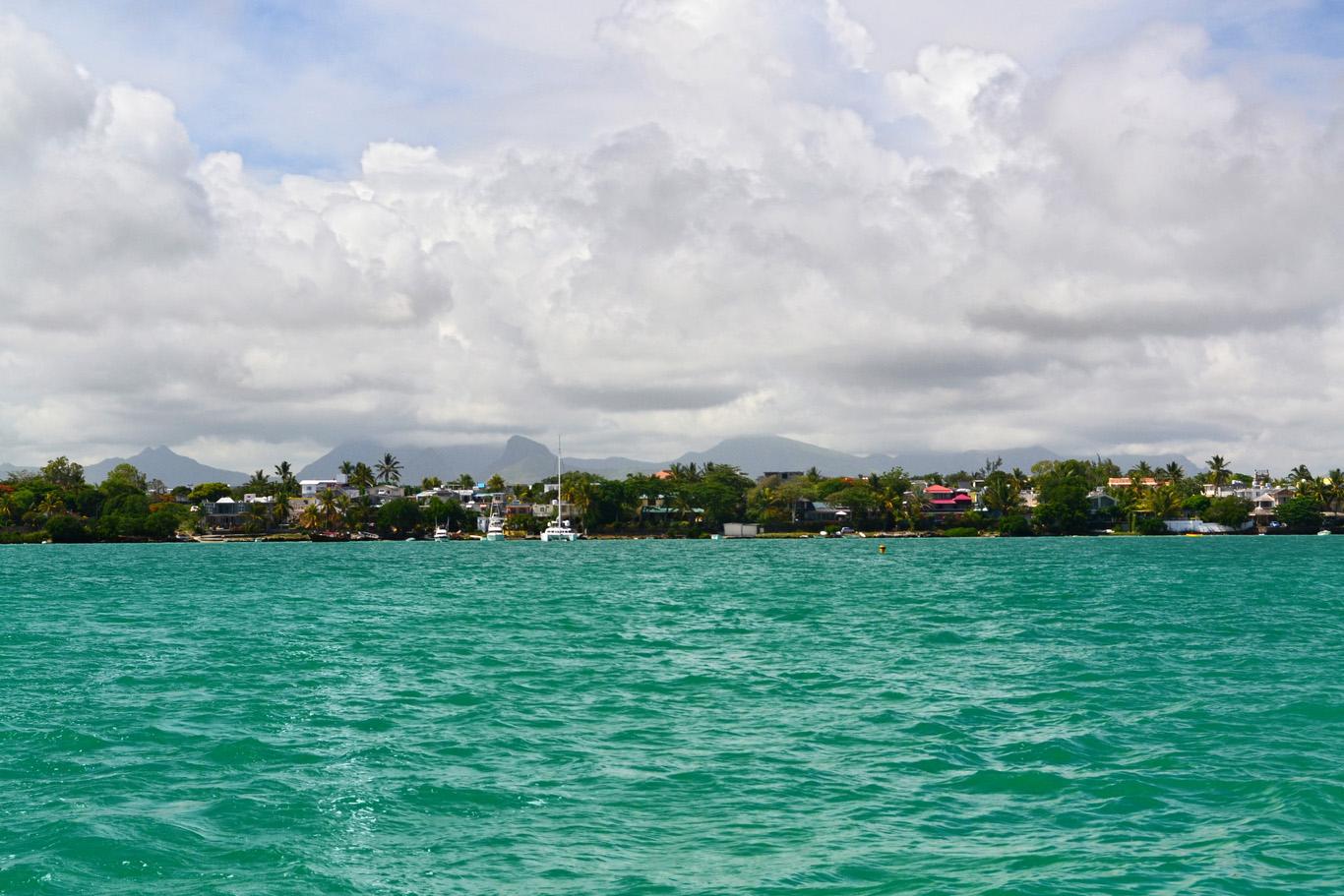 Grand Baie seen from a catamaran