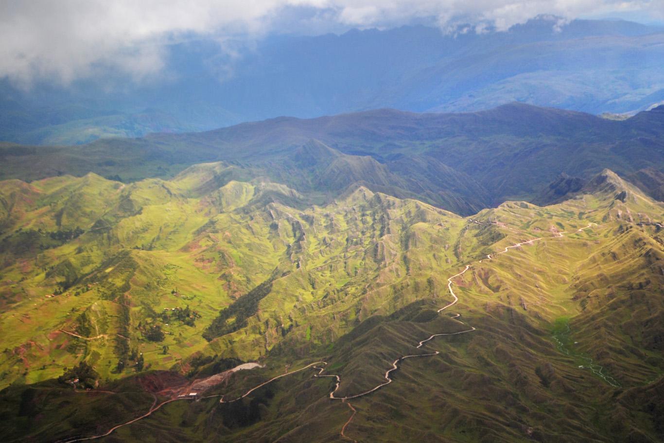 Mountains around Cuzco - aerial view