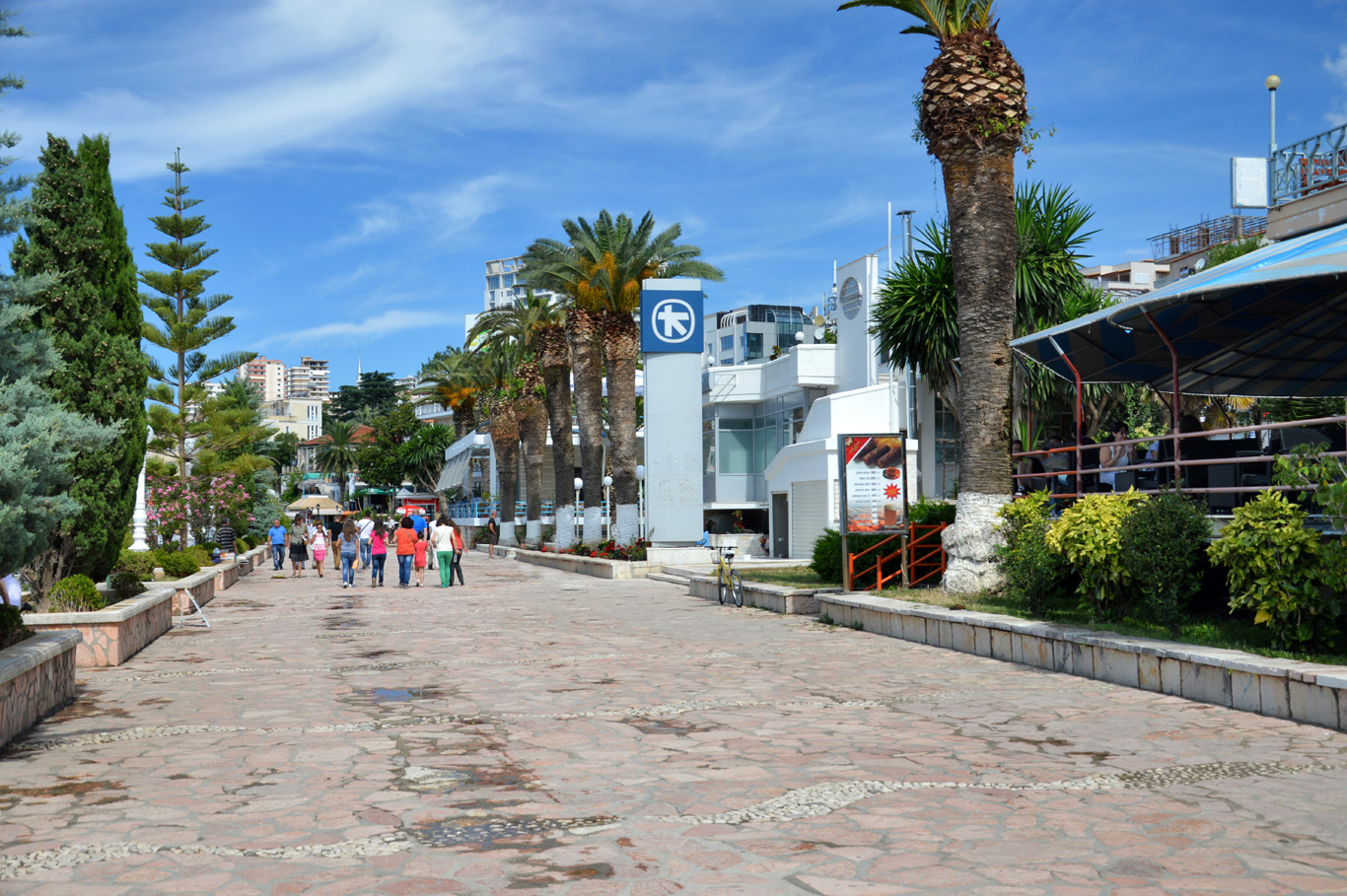 The promenade in Sarande