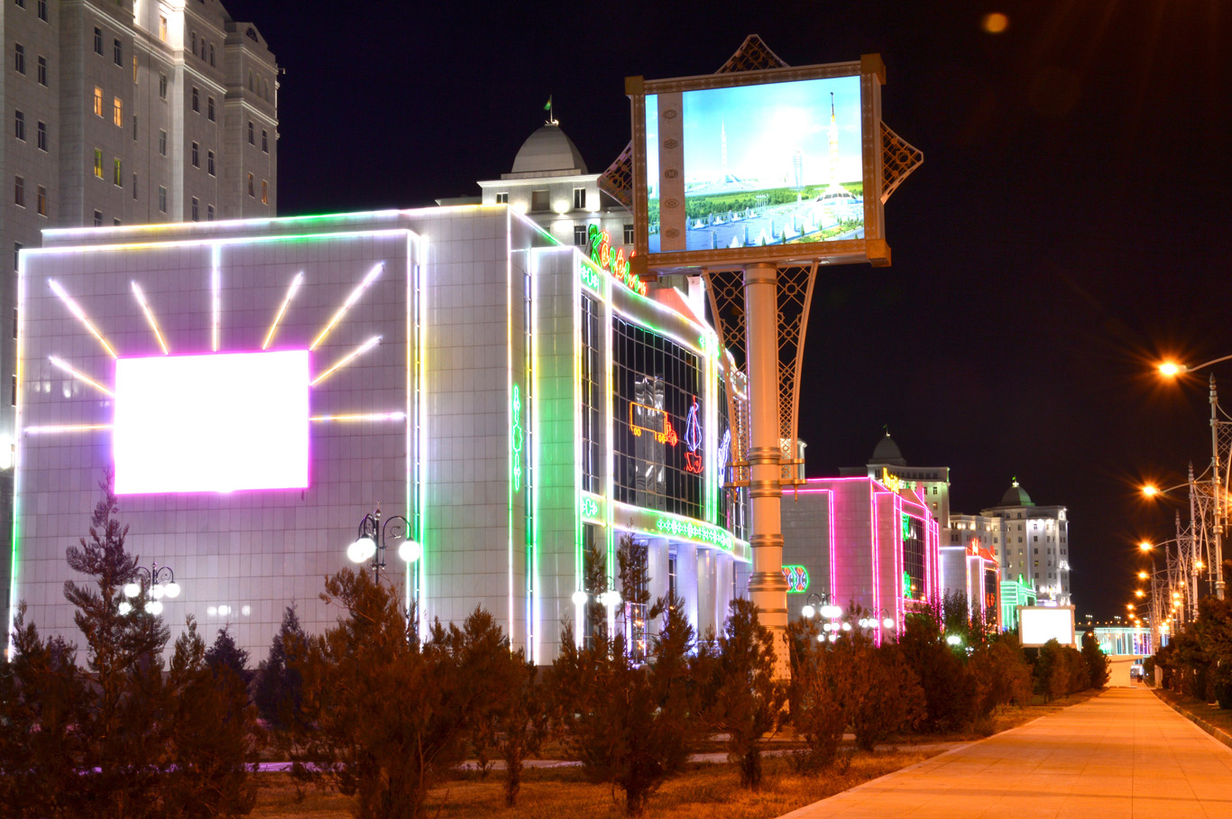 Downtown Ashgabat illuminated at night