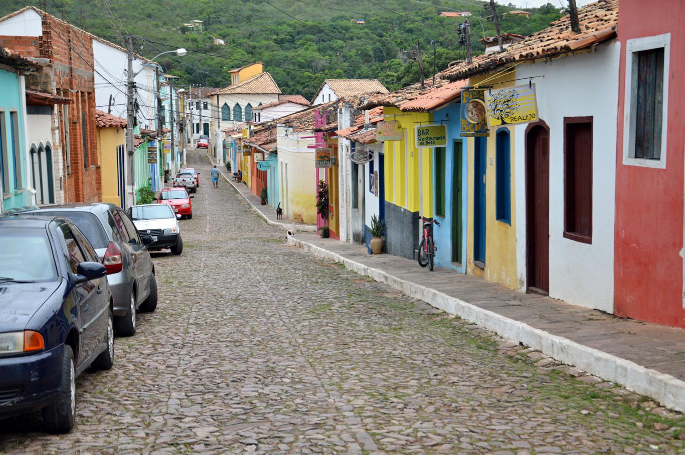 Colorful cobblestone street in Lençois
