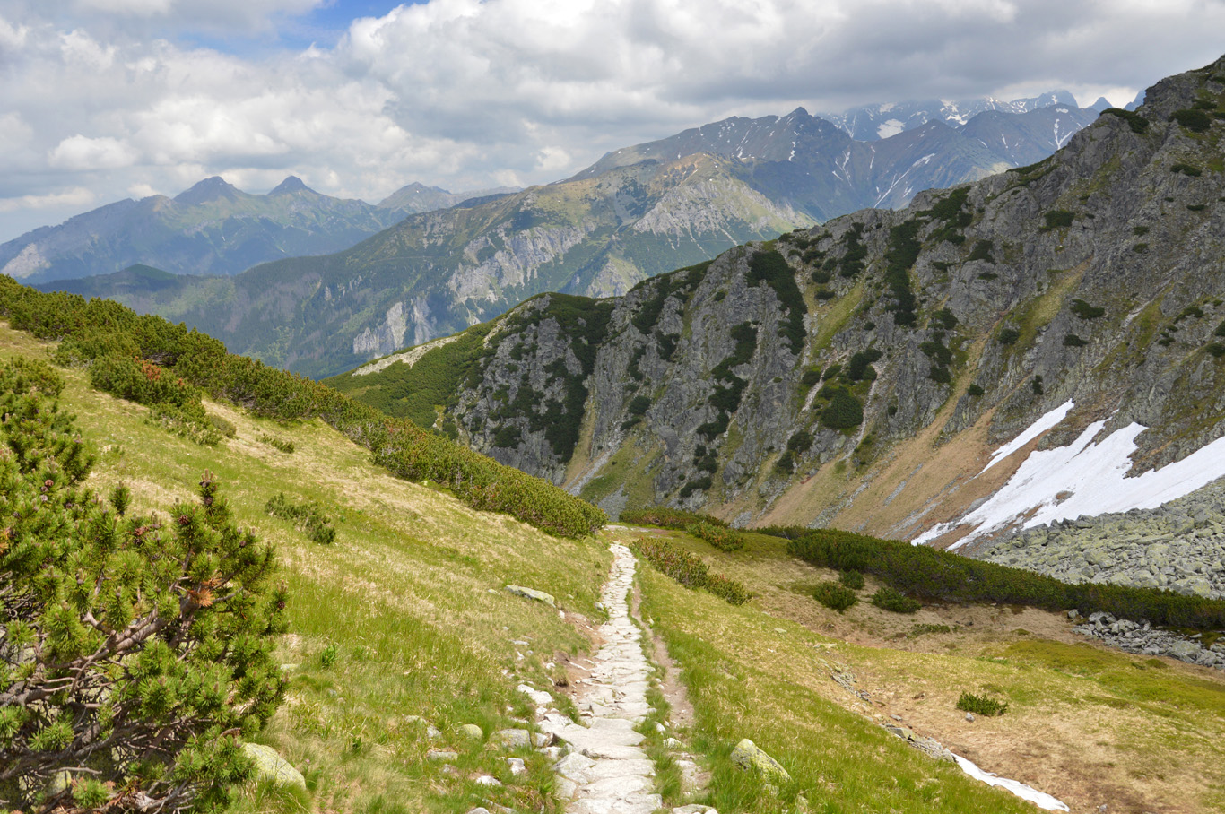 The blue trail from Dolina Pieciu Stawów to Morskie Oko