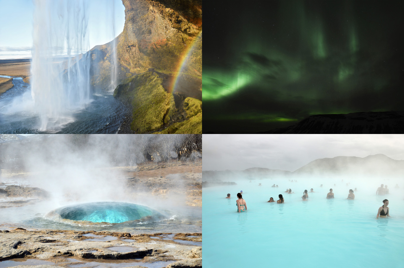 From top left: Seljalandsfoss Waterfall, Northern Lights, Geyser about to erupt and Blue Lagoon