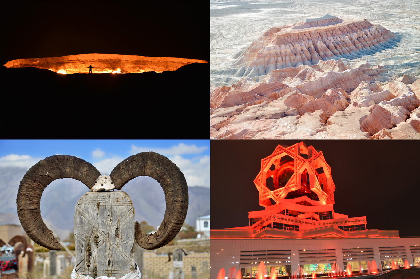From top left: Door To Hell Crater, Yangykala Canyons, Goat Horns at Tribal Cemetery in Nohur Village and The Wedding Venue in Ashgabat