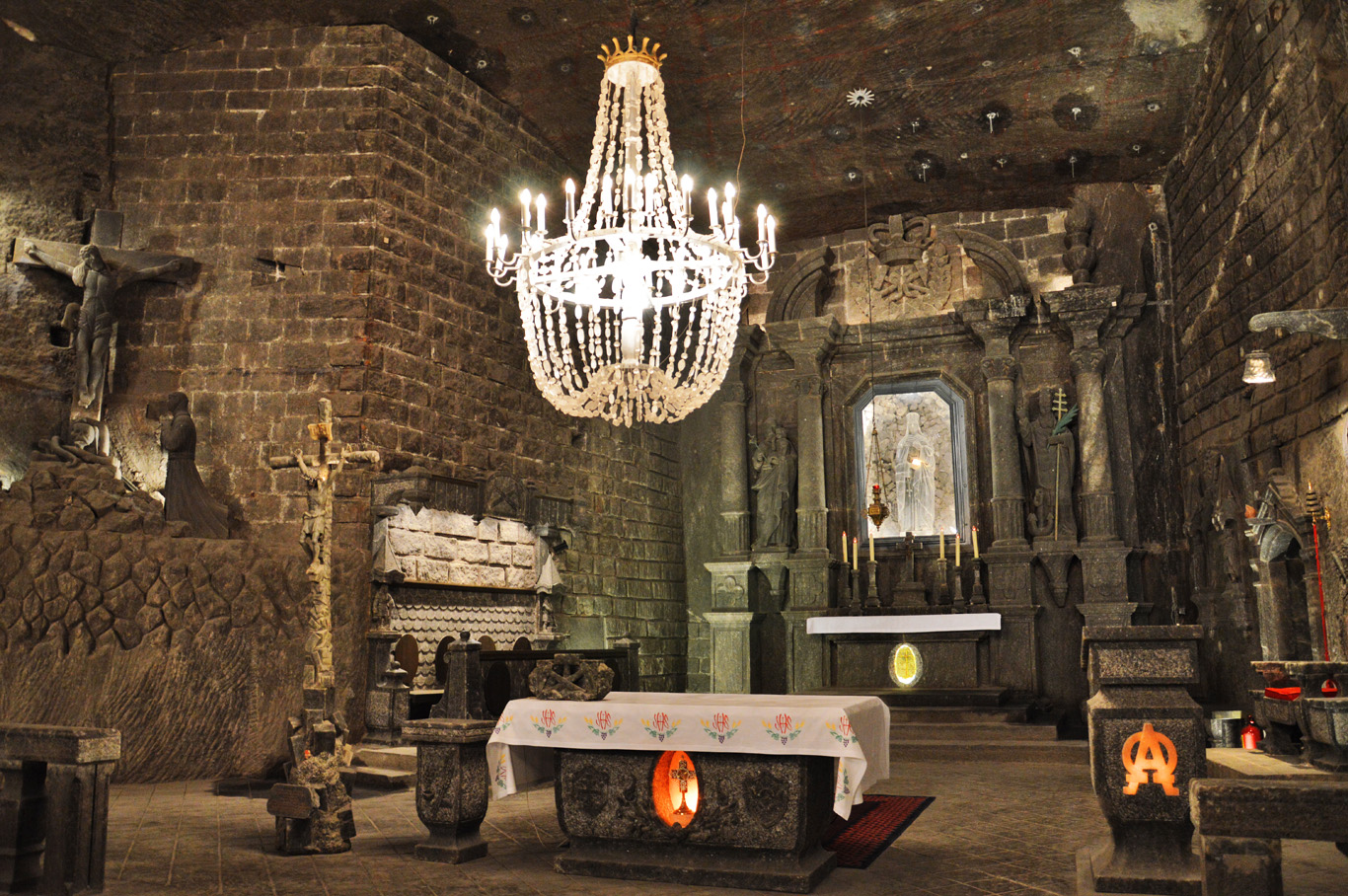 St. Kinga's Chapel - every object in this photo (including the chandelier) is made of salt