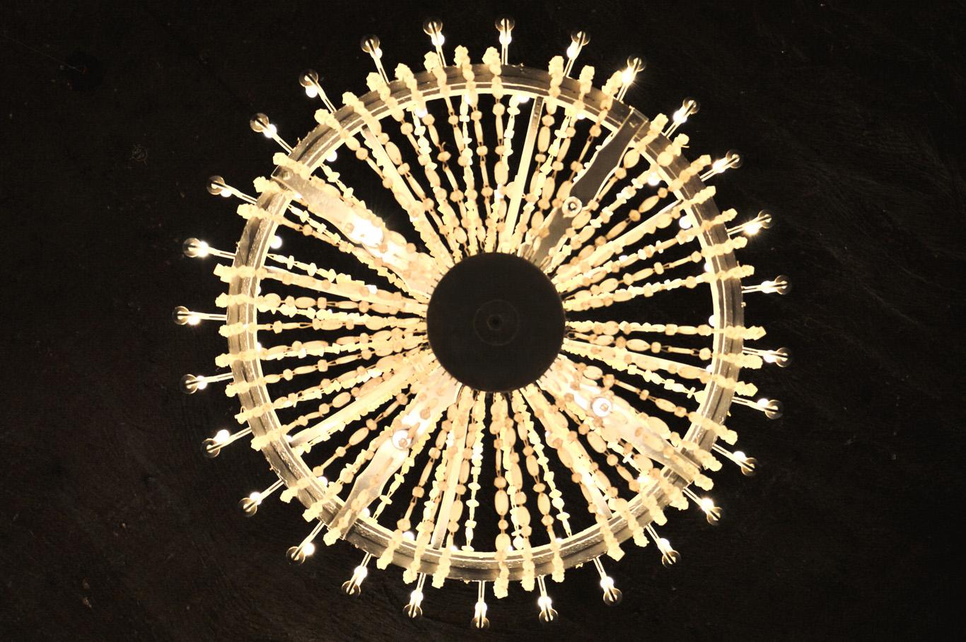 Chandelier made of salt crystals