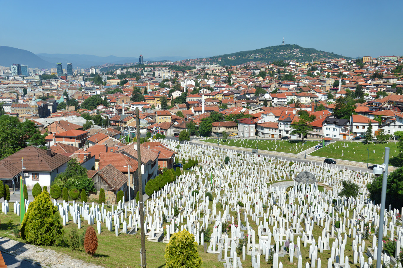 The cemetery seen from Yellow Fortress hill