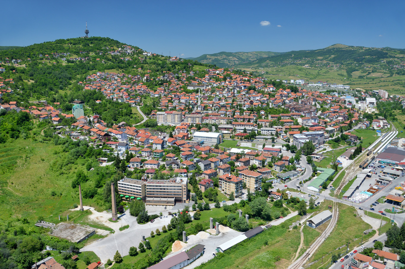 Red roofs and green hills of Sarajevo