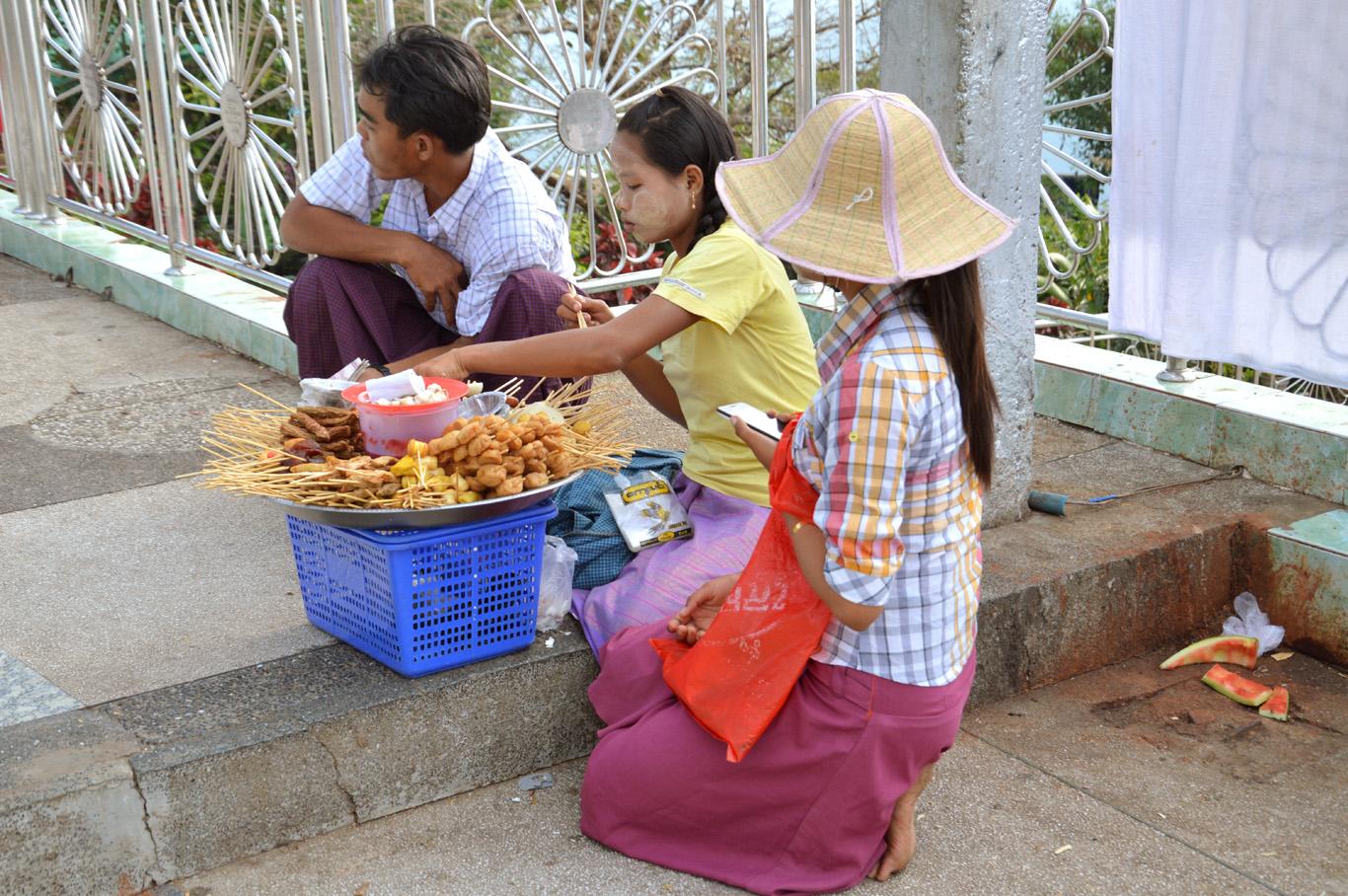 Vendors selling snacks