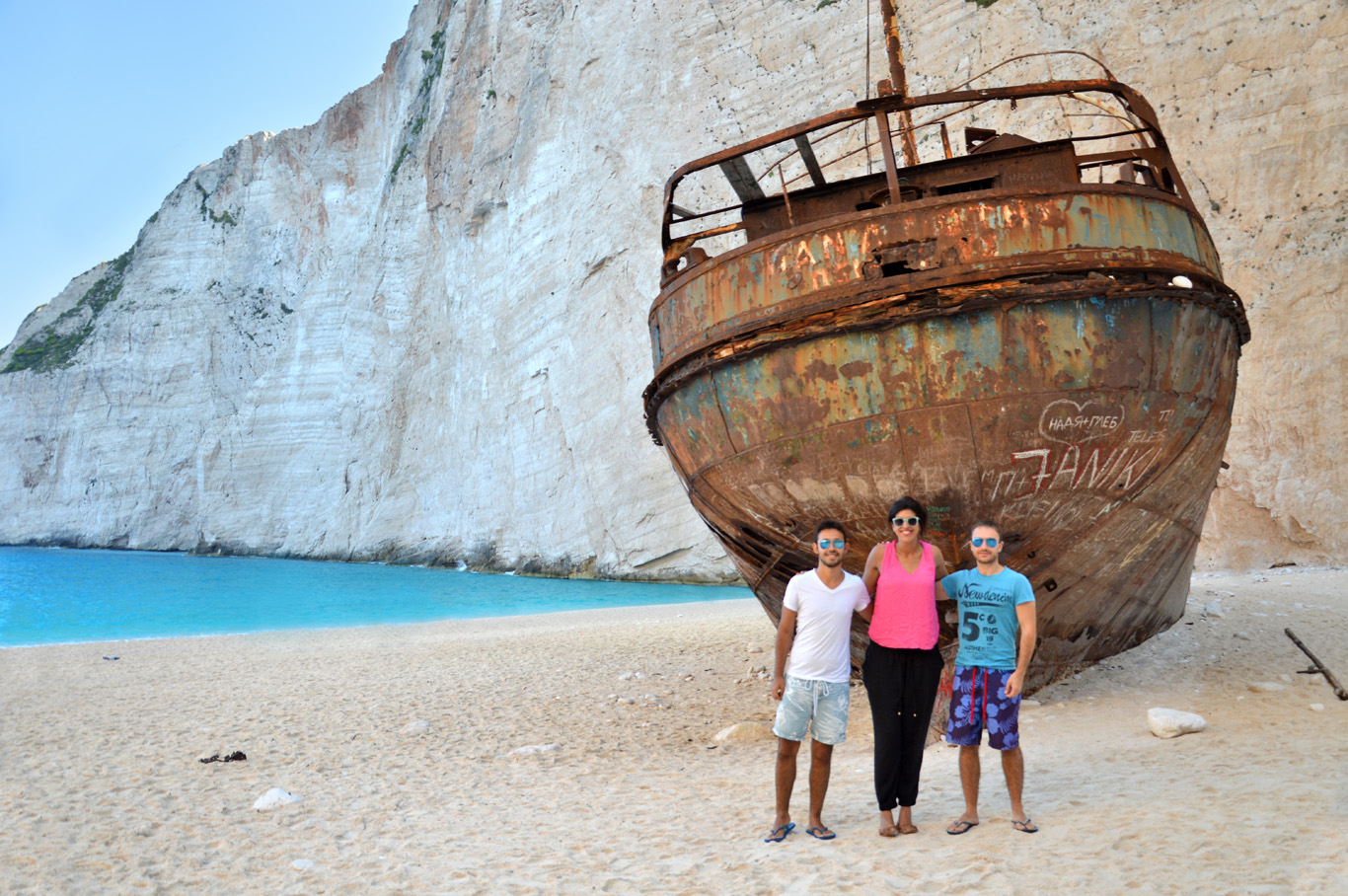 Unusual sight - empty Navagio beach - no tourists, only the shipwreck and us :)