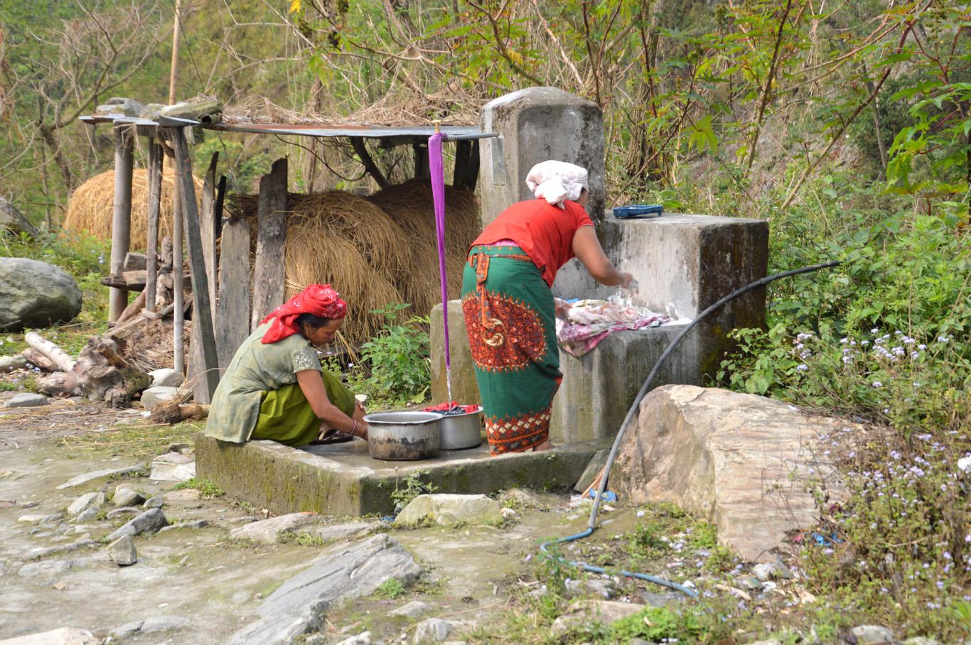 Local women doing laundry in Birethanti
