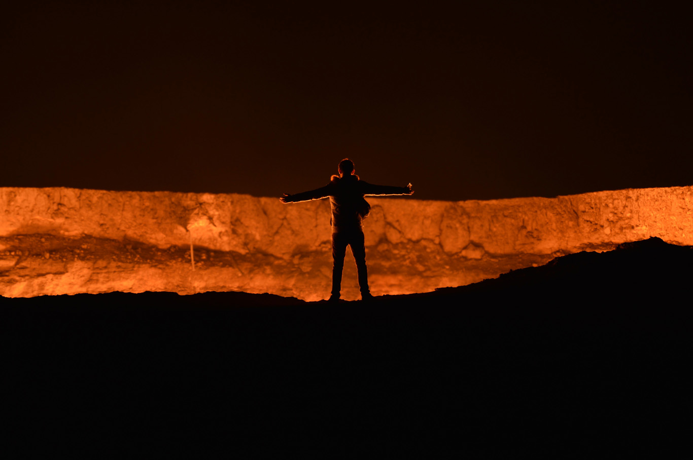 Standing at the crater