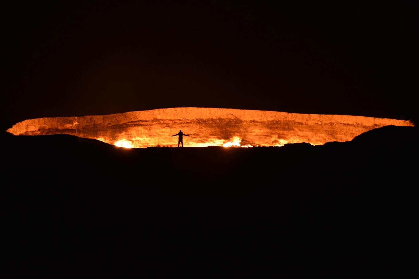 Darvaza Crater at night