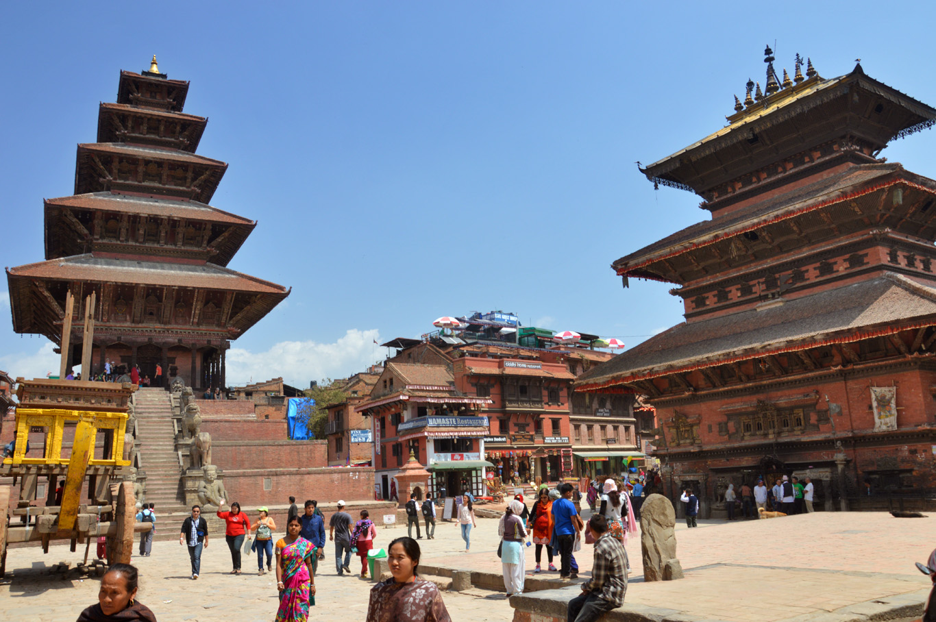 5-level Nyatapola temple on the left