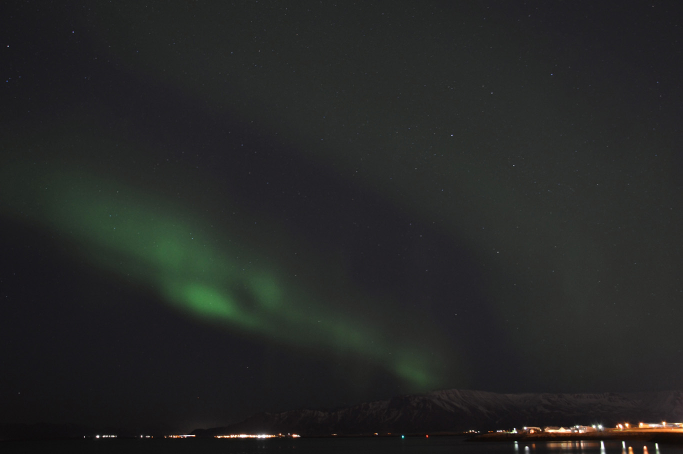 Northern lights spotted near the Sun Voyager sculpture