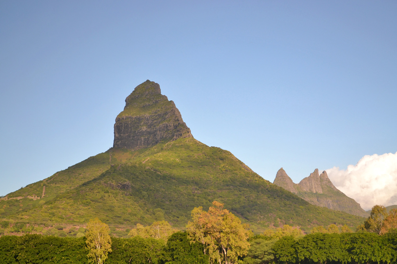 Mountainous peaks inland
