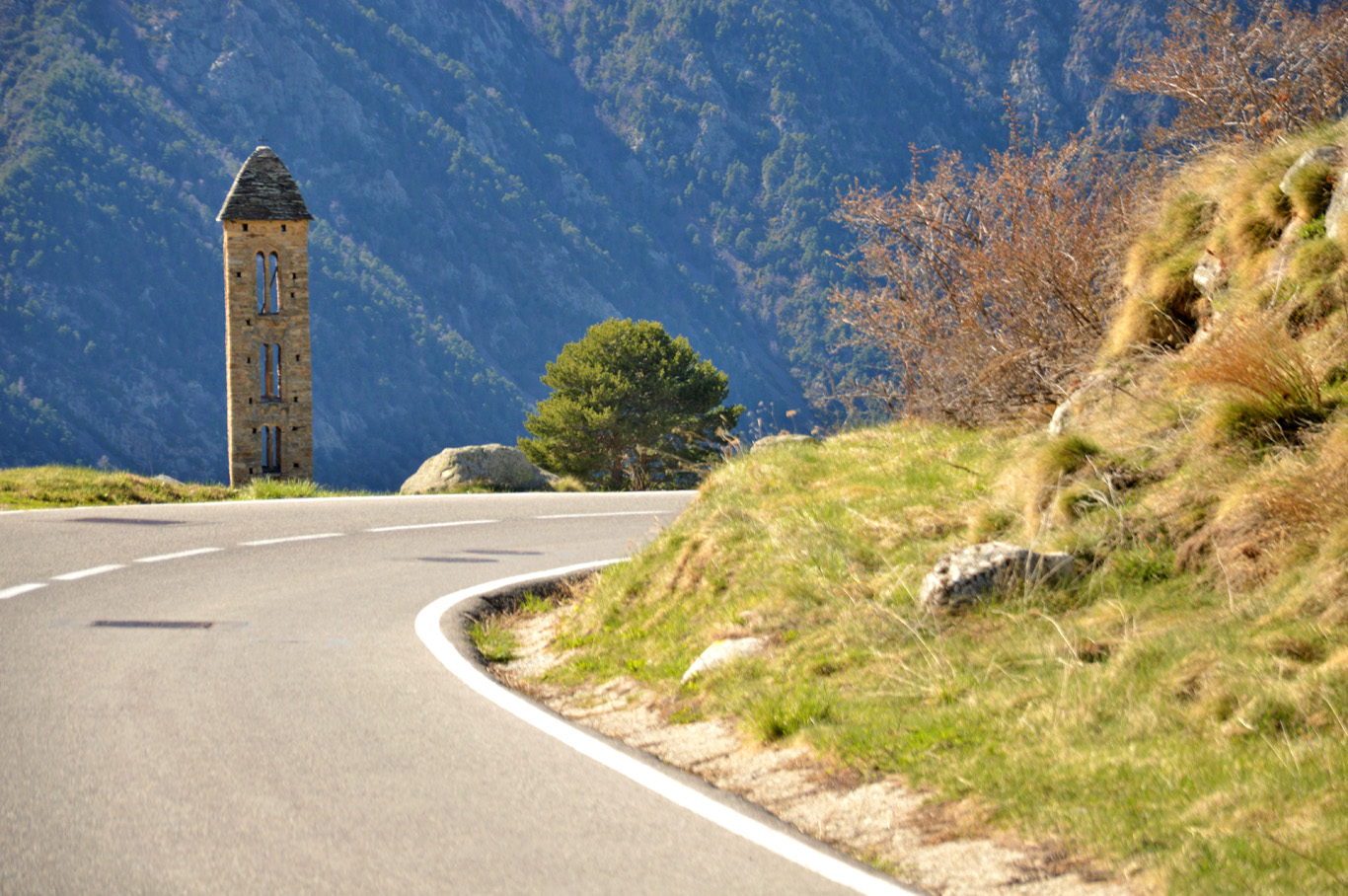 The road and the church tower