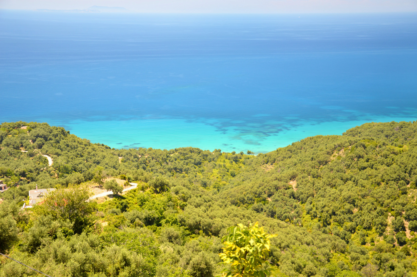 Green hills of Lukove and Ionian Sea