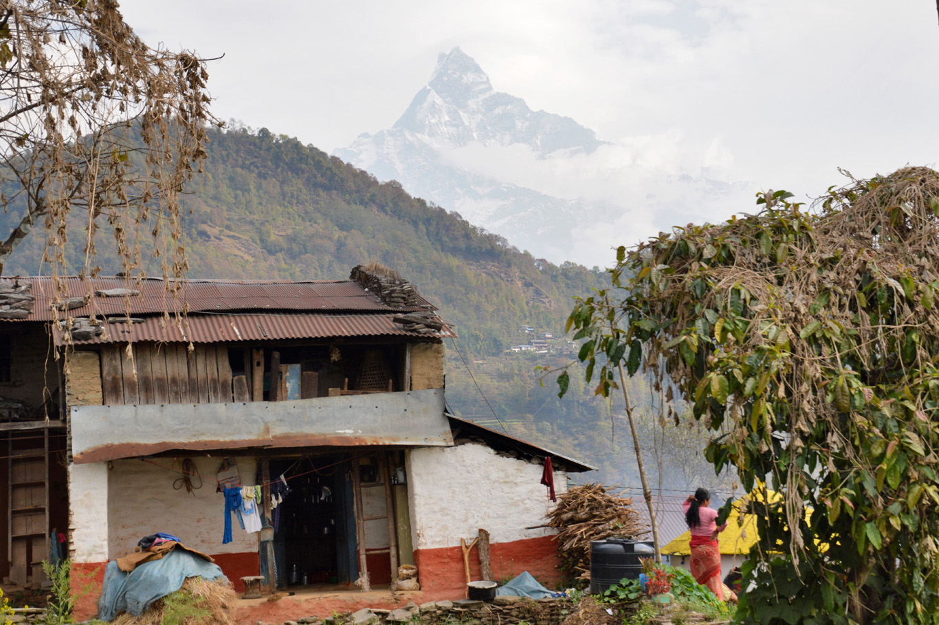 Village near Pokhara with the view