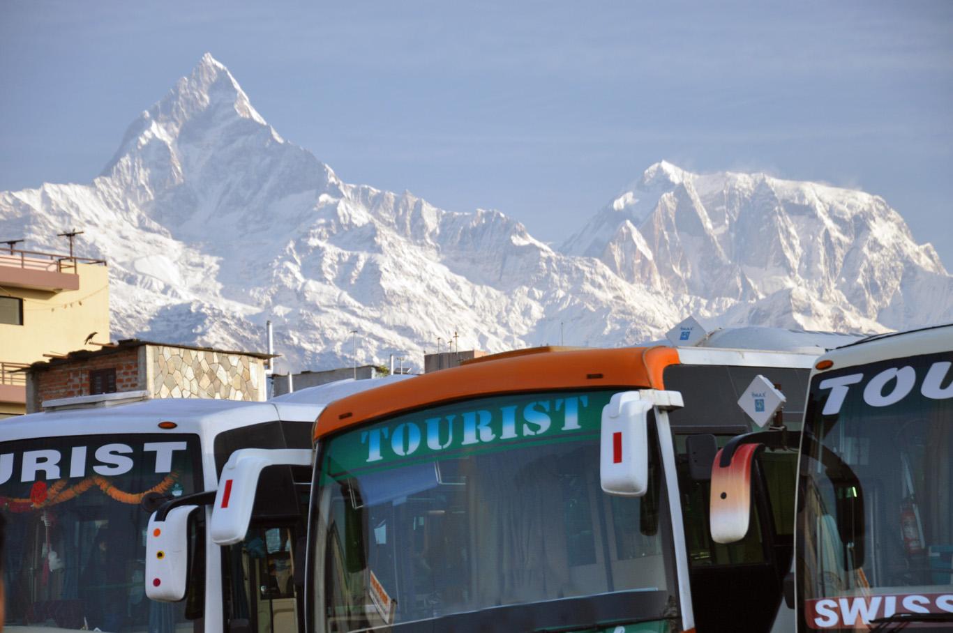 Bus station in Pokhara