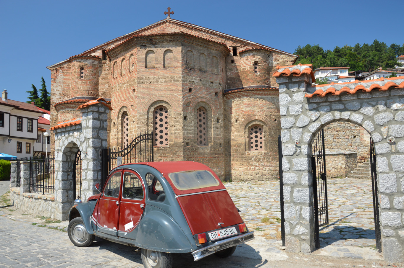 Old car in front of St. Sophia Church