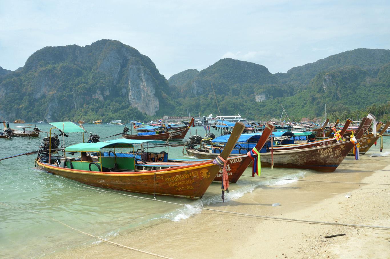 Wooden boats at Ko Phi Phi Don