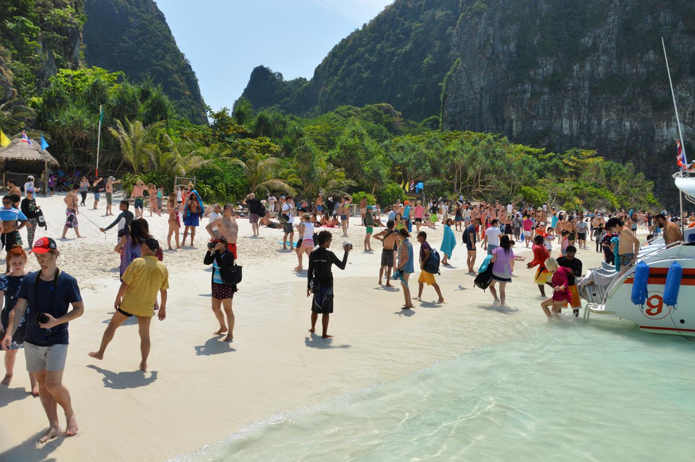 Overcrowded beach at Maya Bay