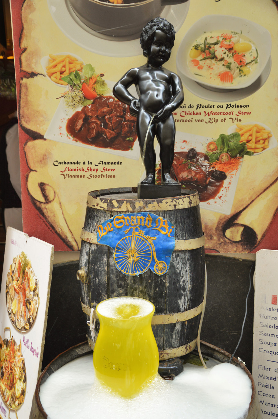 The statue of Manneken Pis in a restaurant (not the original one)