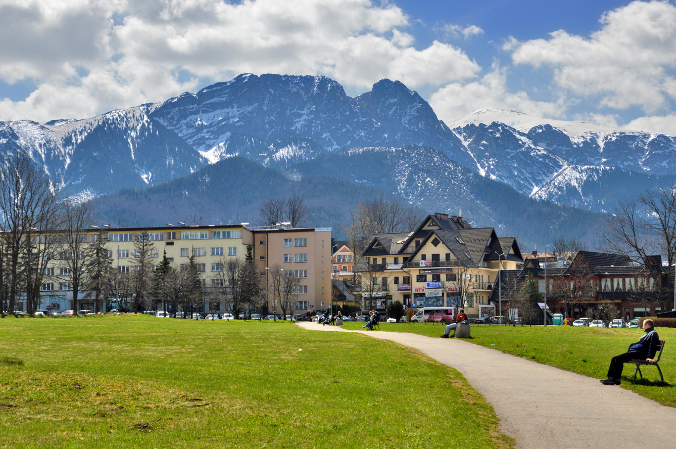 A park with the view of Giewont - most popular polish peak