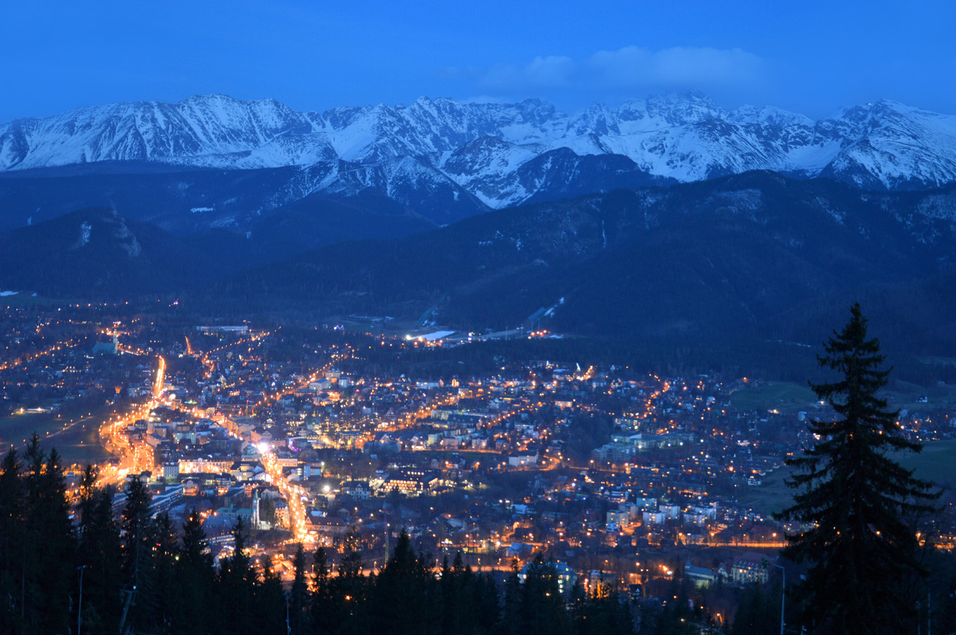 Zakopane - view from Gubalowka hill at night