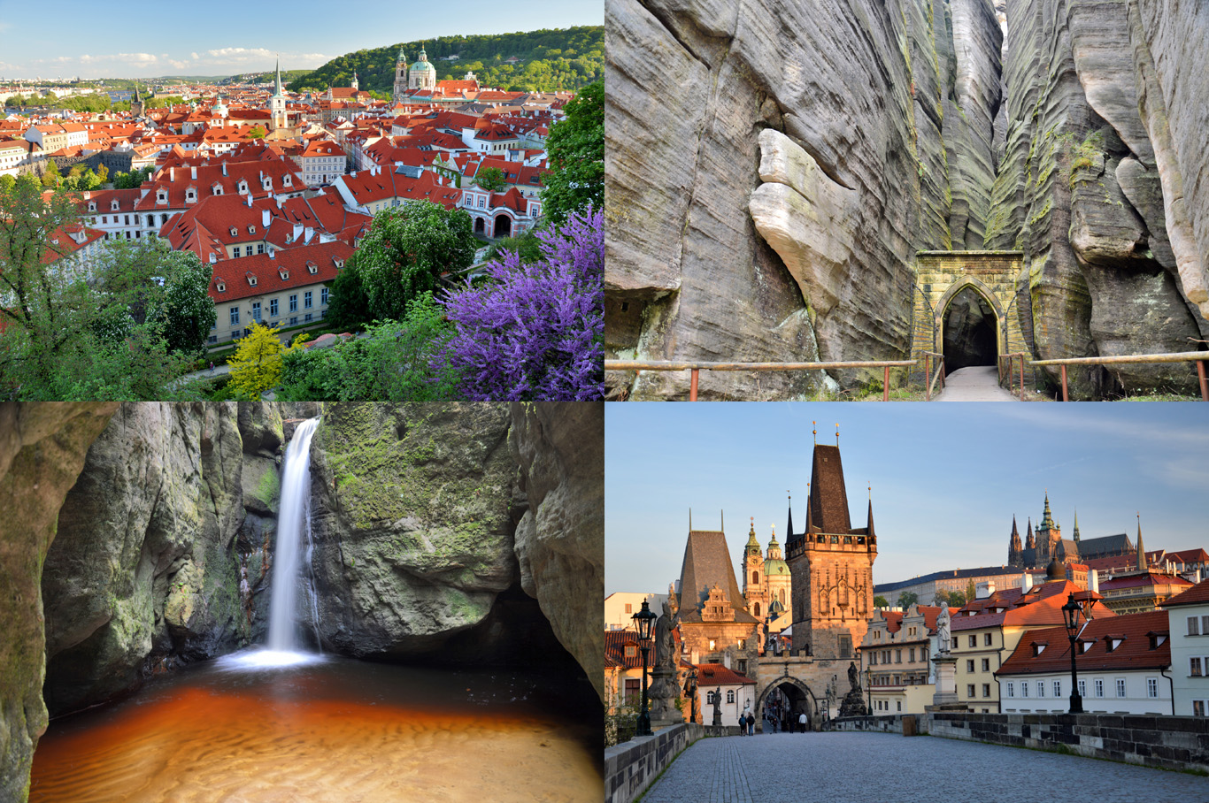 From top left: Prague castle hill, the gate in Adrspach Rock Town, the waterfall in Adrspach and Charles Bridge