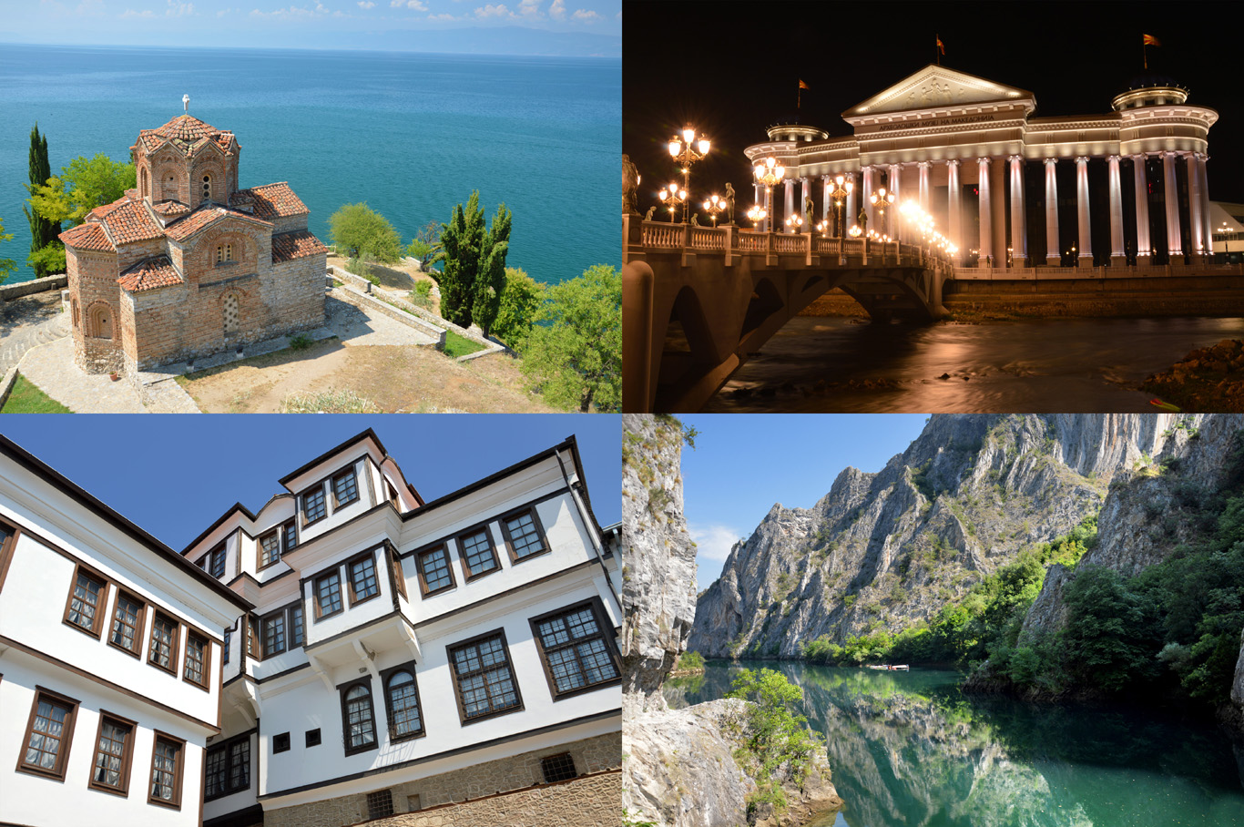 From top left: Lake Ohrid, the capital - Skopje, architecture in the town of Ohrid and Matka Canyon