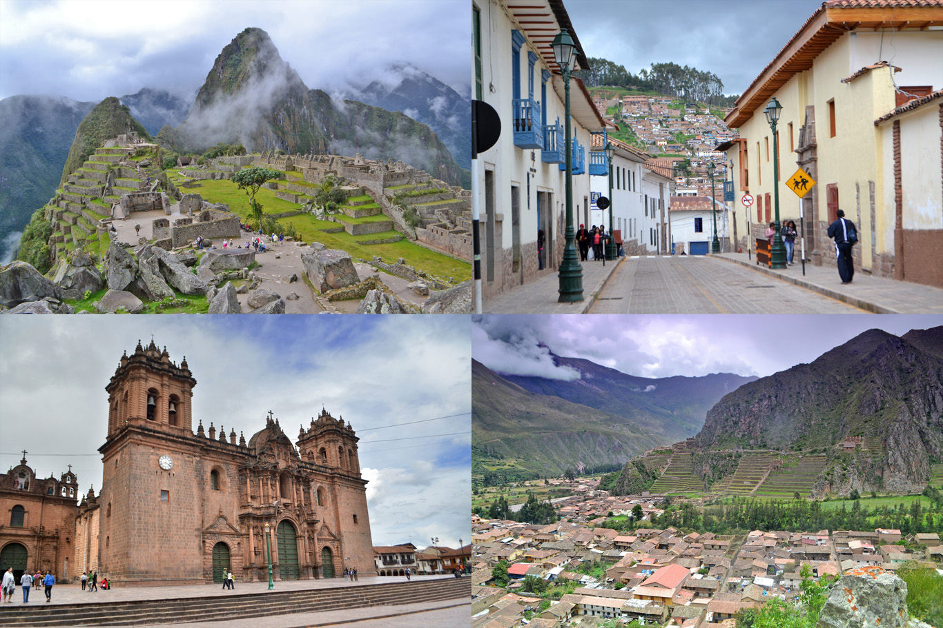 From top left: Machu Picchu, a street in Cuzco, Cuzco Cathedral and the village of Ollantaytambo