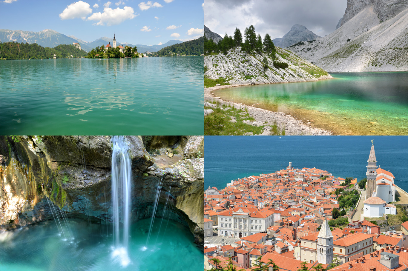 From top left: lake Bled, Triglav mountains, Soca river and Piran