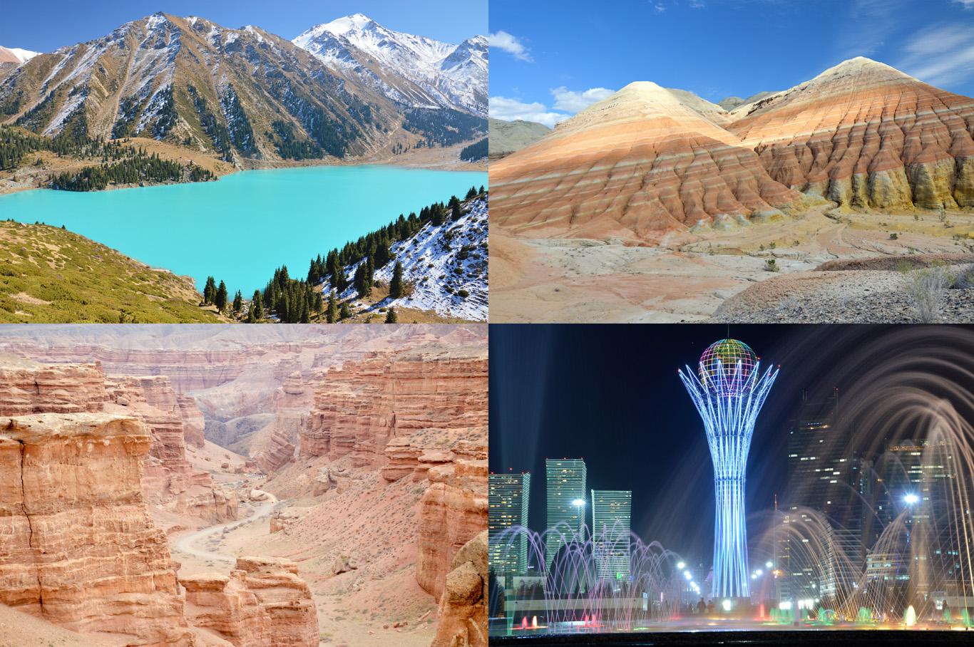 From top left: Big Almaty Lake, Aktau Mountains, Charyn Canyon and the capital - Astana