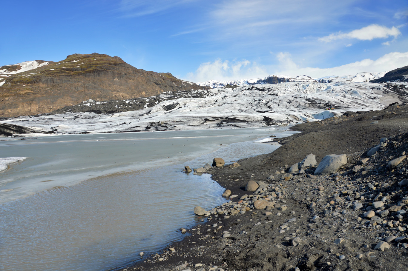 In front of the glacier
