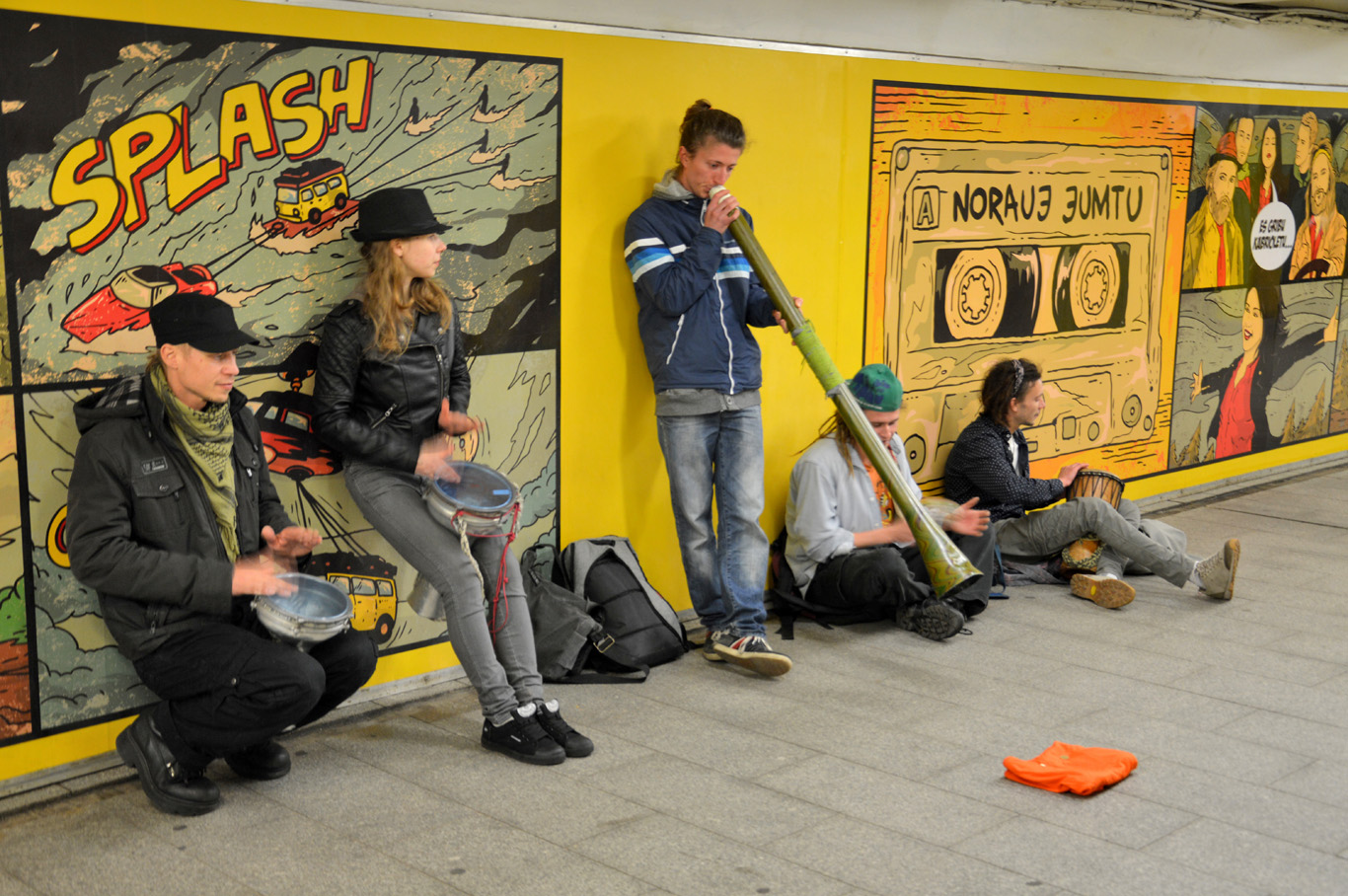 A band in the underground passage