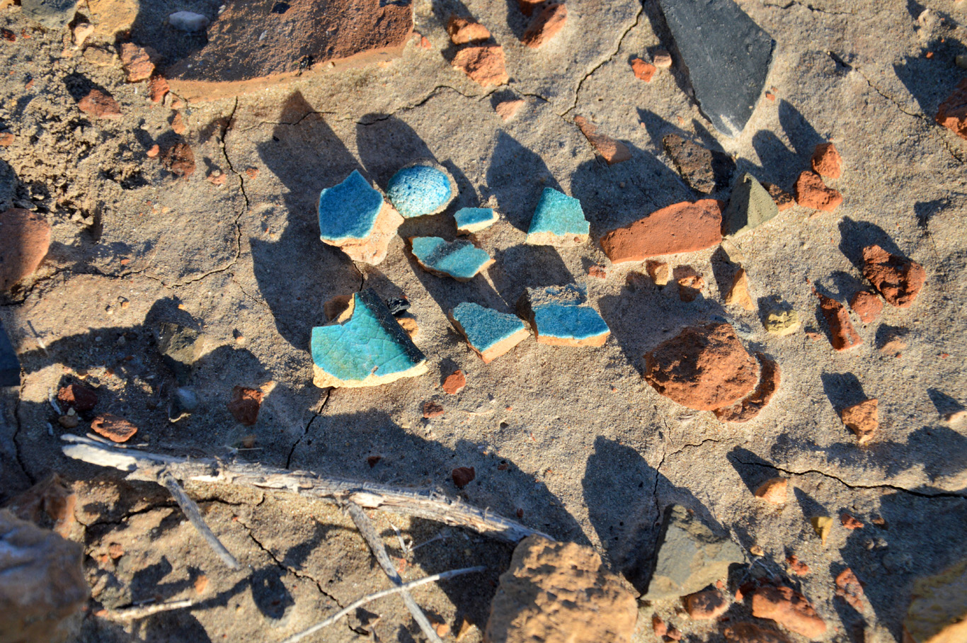 Pieces of pottery found at the site of Izmukshir Fortress