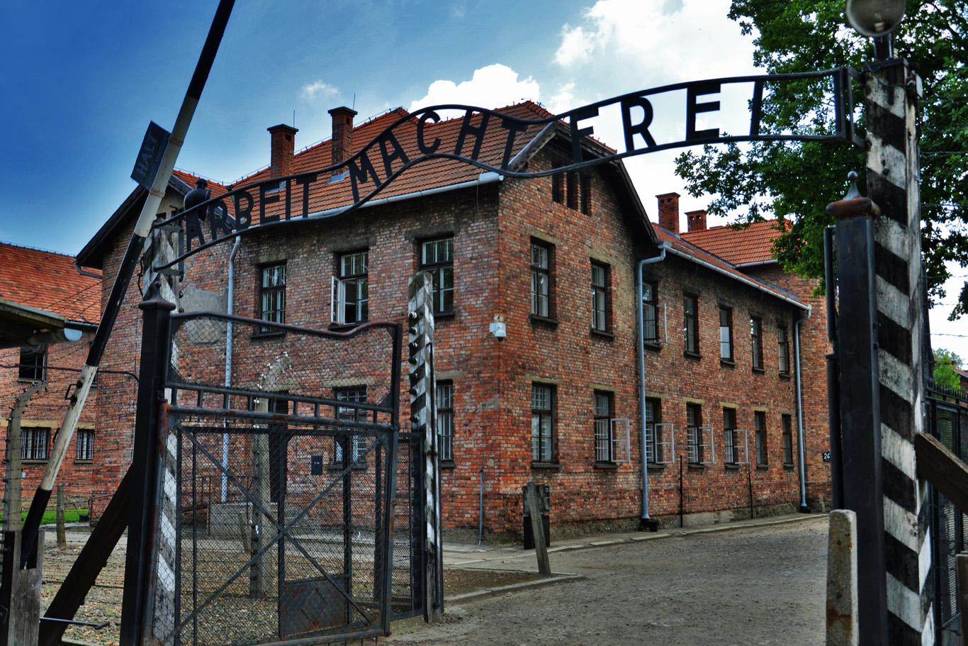 The main gate to Auschwitz