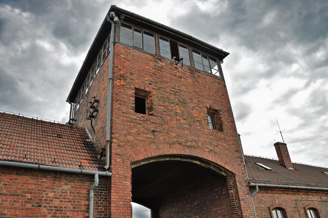 Guard tower in Birkenau