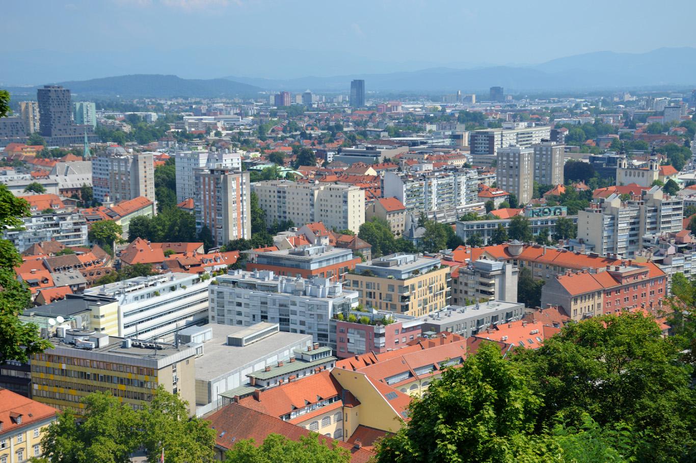 The modern Ljubljana seen from the castle