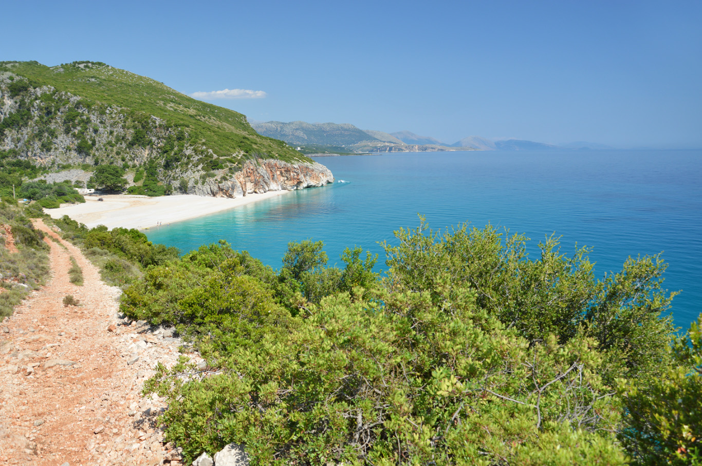 Gjipe beach seen from the trail leading to the main road