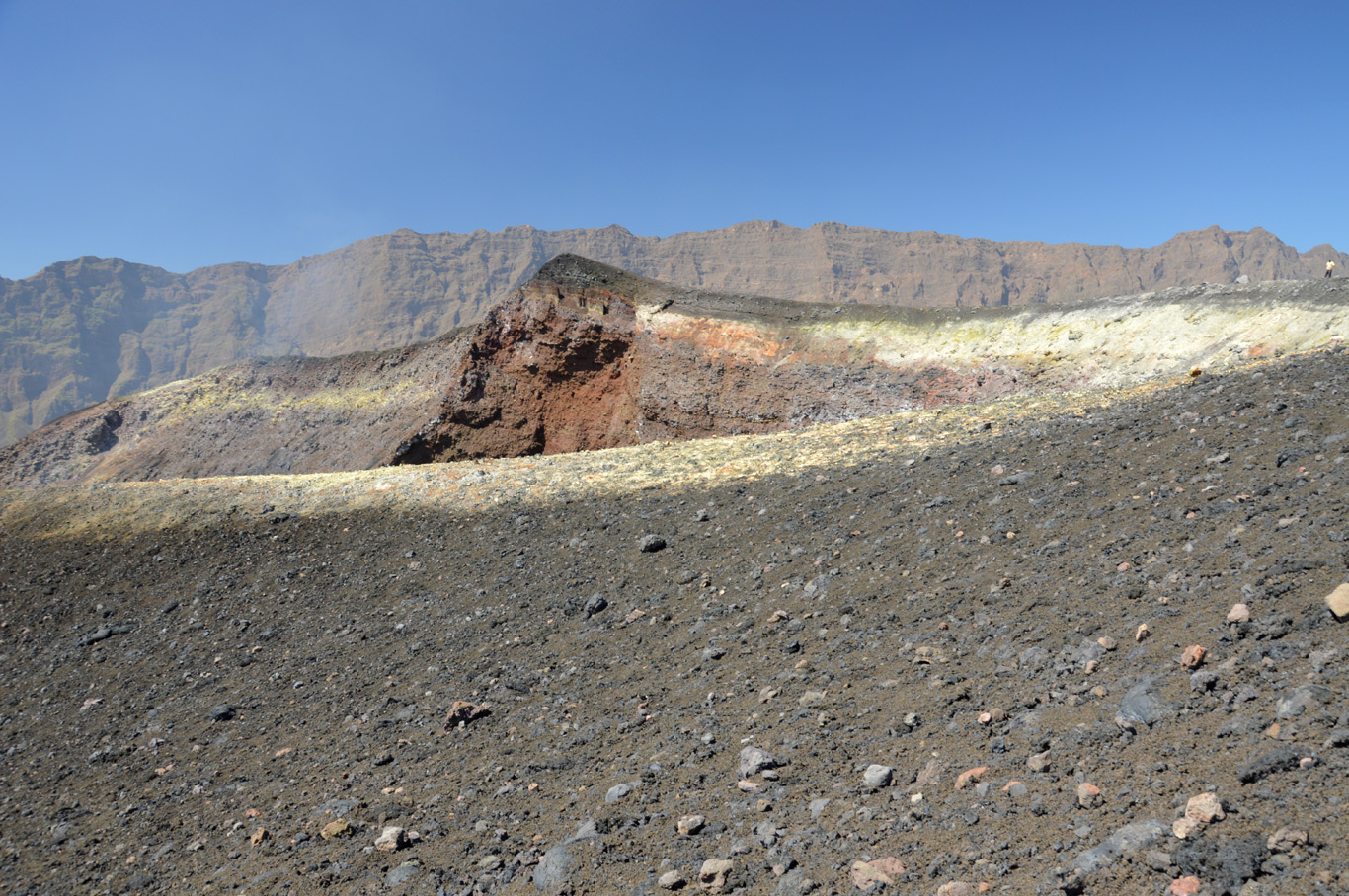 The lower peak - it was here where the 2014 eruption took place
