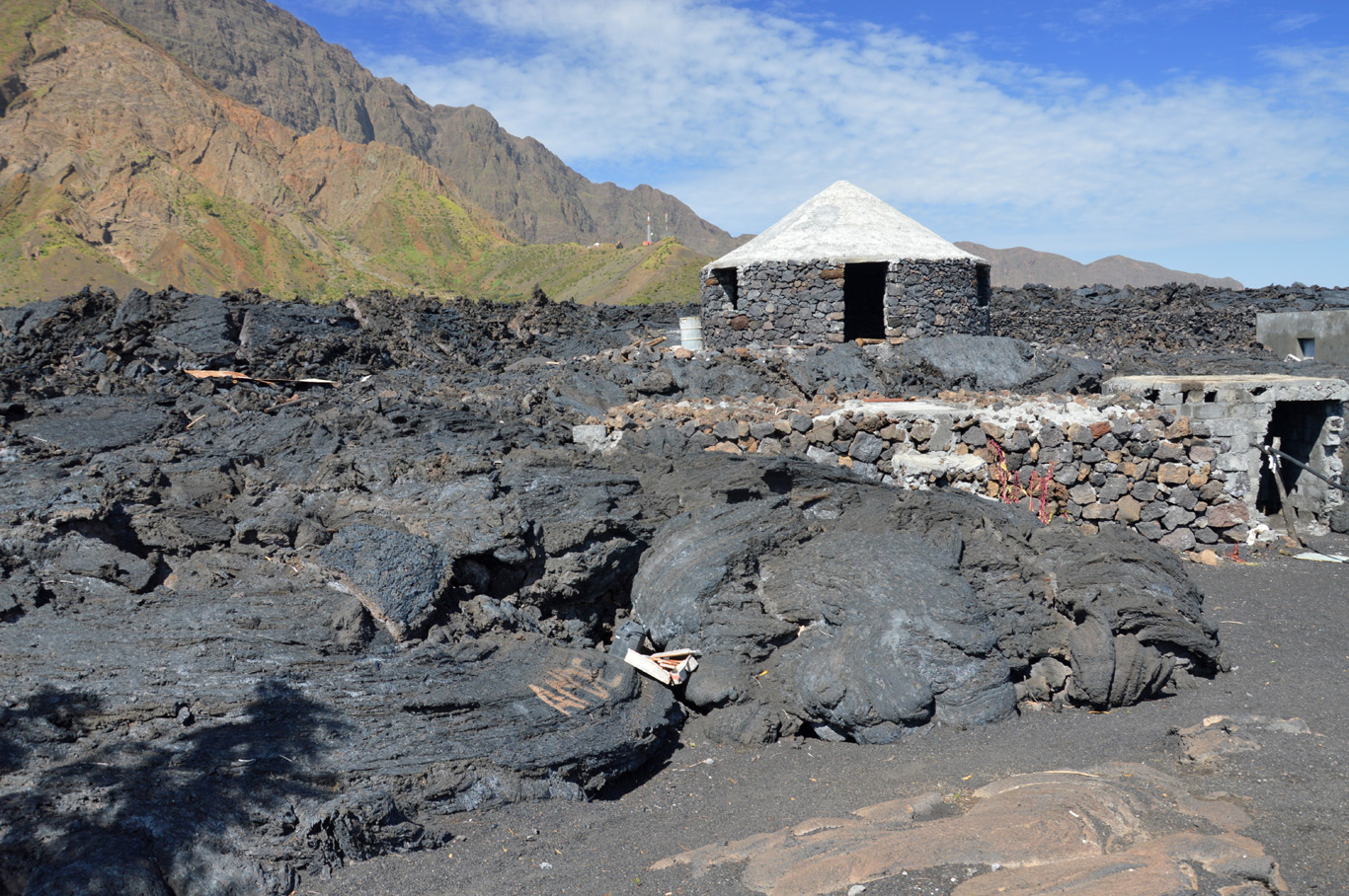 Round house on top of the lava