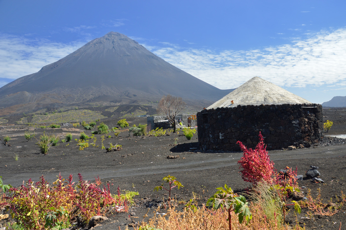 Local house with the view of the volcano