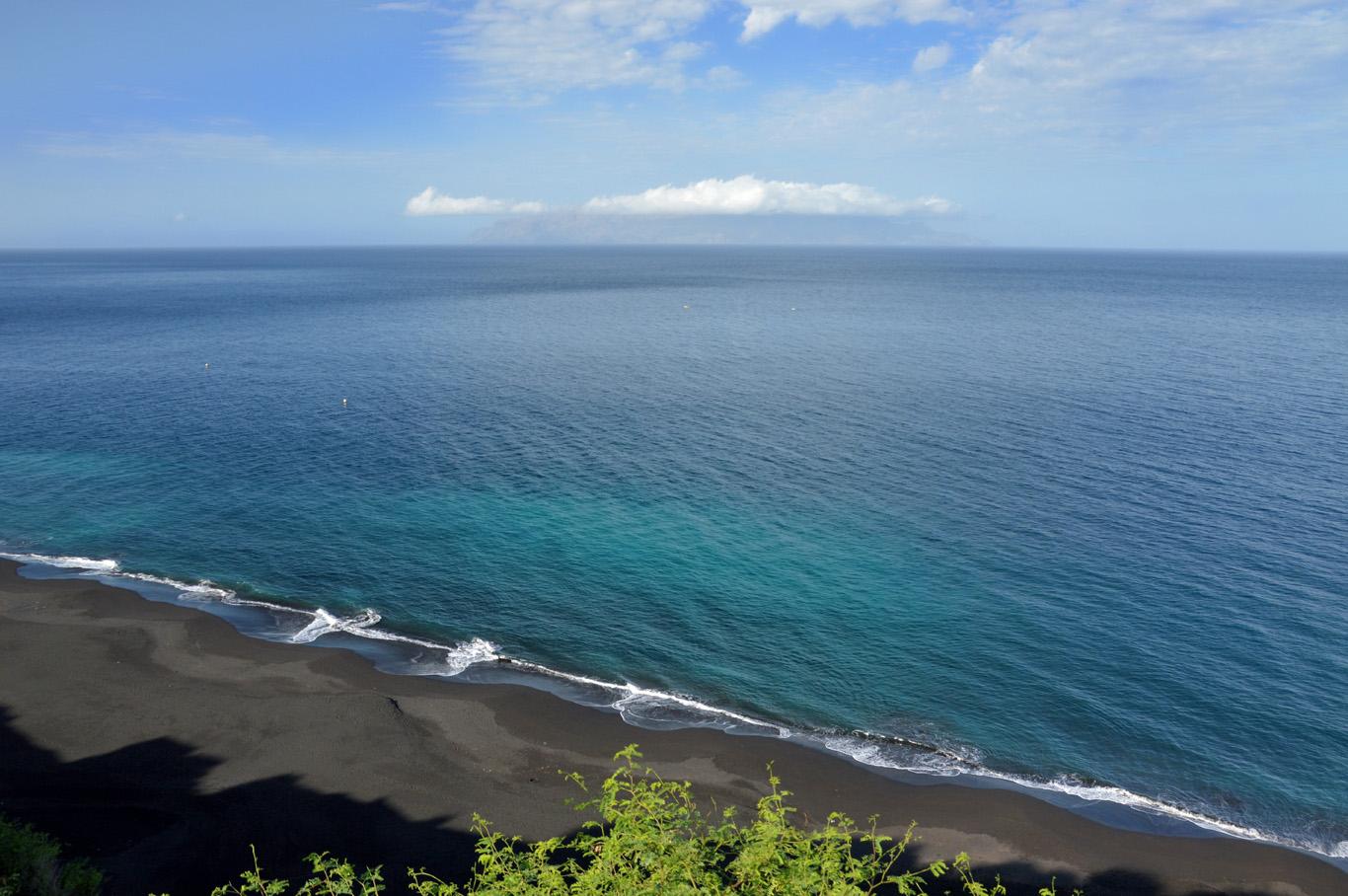 Black volcanic beach in Sao Filipe