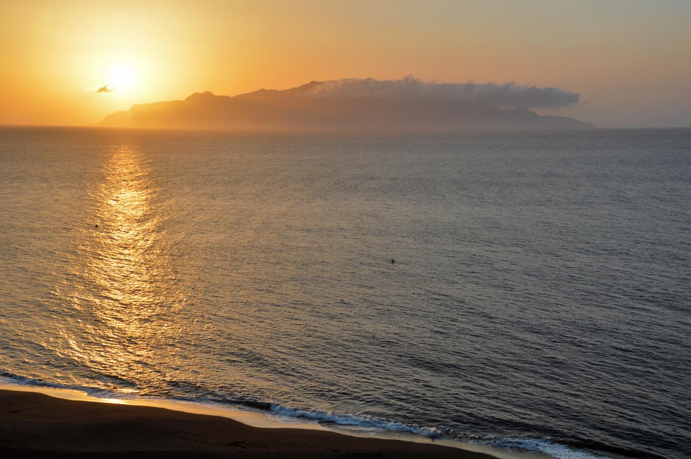 Sunset seen from Sao Filipe -  Brava  in the background